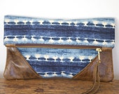 IKAT - Blue Ikat Fabric Clutch with Chocolate Brown Leather Corners