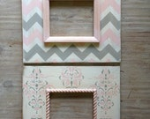 Set of 2-8x10 Distressed Wood Picture Frames Pink and Gray Nursery Chevron and French Damask - deltagirlframes