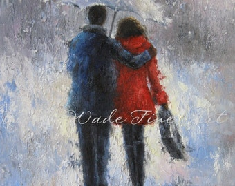 Rain Romance Art Print, lovers in rain, loving couple walking in rain, man woman, anniversary gift, umbrella, red,  Vickie Wade Art