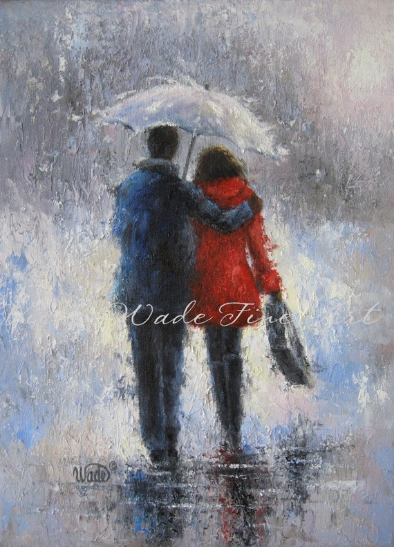Rain Romance Art Print lovers in rain loving couple walking