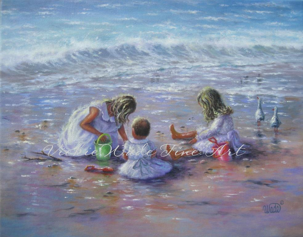 Three beach girls art print beach children three sisters for 3 by 3 prints