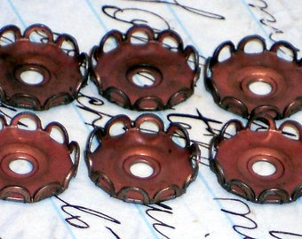 Vintage Brass Settings Lace Cabochon Small 14mm Raw Old setting Cabs. #797