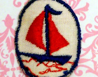 Vintage SailBoat Applique,Embroidery Nautical Sewing Ocean Boating Sea Ship,sailboat appliqué oval #842G