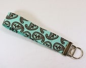 Aqua & Brown paisley print fabric key fob or camera strap