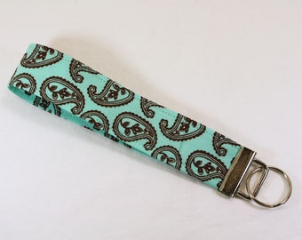 Aqua & Brown paisley print fabric key fob or camera strap
