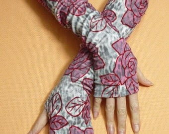 Flowered Fingerless Jersey Gloves, Soft and Warm Women Armwarmers, stretchy Sleeves, Boho Style, Candy Arm Covers