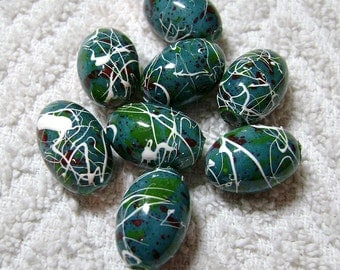 Blue Speckled Oval Resin Drawbench Beads (18x13mm) - (8 Pcs) - B-789