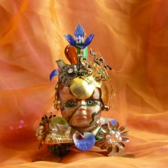 Abstract Art, Art Assemblage,  Doll Head Art piece by gothb4play