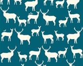 Organic Cotton Fabric- Birch Mod Basics2 - Elk Family -teal- Great Shipping Rates