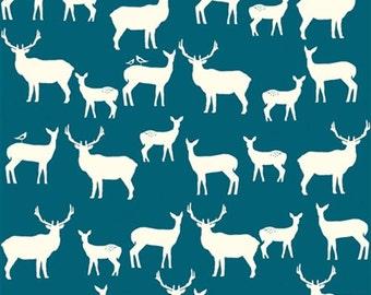 Organic Cotton Fabric- Birch Mod Basics2 - Elk Family -teal- Great Shipping Rates