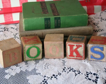Vintage BOOKS Wooden Blocks Gift Alphabet Antique Words Home Decor Letters