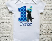 Black Lab Puppy Dog First Second Third Birthday Shirt- Boys or Girls Colors Avail- Free Personalization