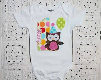 Pink and Teal Girls Sweet Owl Birthday shirt  - ALL Birthday Numbers are Available