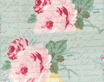 "french hand stamped pink roses shabby cottage chic ribbon Muslin 4.75""  2 859"