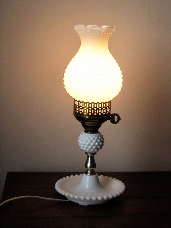 Vintage Electric White Milk Glass Hobnail Hurricane Table Lamp