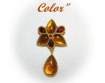 Vintage Golden Amber Color Brooch, Pendant has Bail, 1970's 1980's