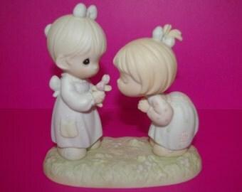 Precious Moments Figurine, Good Friends are Forever, Cake Topper,  Vessel Mark,  1989  1991