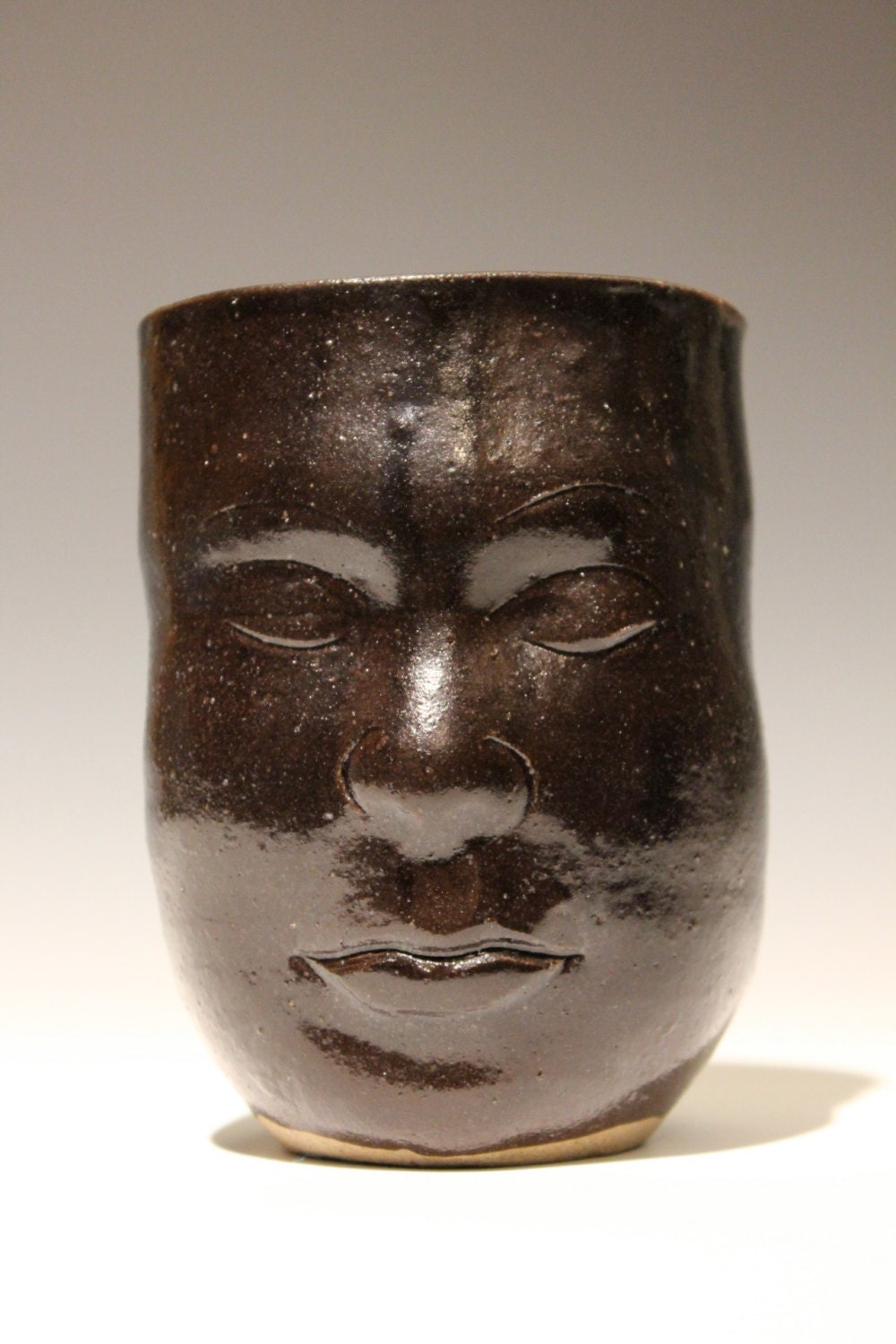 Face Cup Tumbler Yunomi Head Pottery Black Glazed Functional