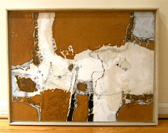 Torn Paper Ink Collage on Board Artist Framed Abstract Aerial Topographic Map Human Landscape Tactile Visually Engaging