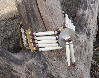 Bone hair pipe choker with brecciated jasper and black lip shell gorget, native leather mens, womens, pow wow regalia, brown, brick red