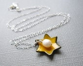 Marigold Yellow Jewish Star of David Necklace Enamel White Pearl Sterling Silver