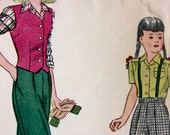 Simplicity 2003 Vintage WWII 1940's Girl's Pants, Blouse, Vest, Outfits Size 10