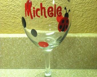Personalized Polkadot Lady Bug Wine Glass
