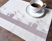 Urban Rooftop Placemats in Champagne on Cream, Set of 4 and Ready to Ship ON SALE
