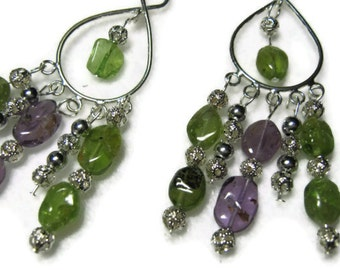Green Gemstone Peridot and Amethyst Earrings, Green Gemstone Dangle Earrings