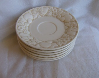 Metlox Antiqua Saucers Lot of 6 Vintage Off White Fruit Pattern California Made