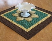 Quilted Sunflower Candle Mat or Table Topper