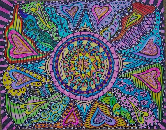 Articles similaires art psych d lique hippie hippie art - Mandala amour ...