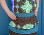 SALE  Kids Apron - Brown and Blue layers
