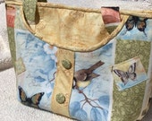 Spring Tote Bag, Nature Fabric, Birds and Butterflies, Cotton Tote Bag, Cotton Bag, Susan Winget Fabric Tote