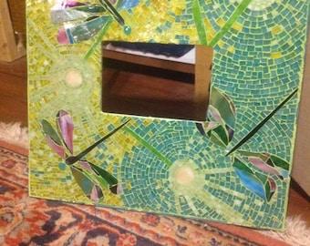 Mixed Media Mosaic, OOAK Custom Dandilions & Dragonflies Mosaic Stained Glass Art Frame
