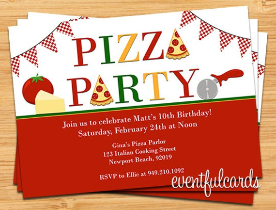 pizza party birthday invitation by eventfulcards on etsy, Party invitations