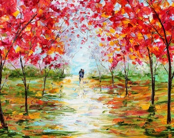 Large Giclee print on canvas 24 x 36 Fall Couple Romance Landscape made from image of painting impasto fine art by Karen Tarlton
