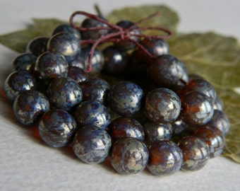Czech Picasso Druk Beads, Czech Glass Beads, Opal Smoky Topaz Glass & Speckled Metallic  Picasso 8mm (30pcs) NEW
