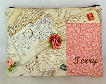 Personalized Paris French Post  Cards Eiffel Tower  Pink / Coral Roses Kindle - eReader - Playbook Case with Wristlet and Back Zipper Pocket