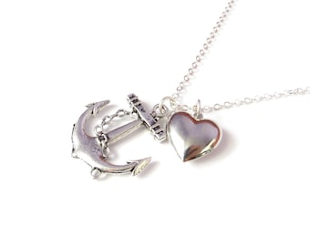 Heart And Anchor Necklace On Long Silver Chain, Nautical Jewelry, 3D Heart, Long Necklace