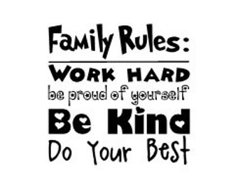 Family Rules wall vinyl decal