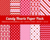 Candy Hearts Digital Printable Paper Pack - For Commercial or Personal Use