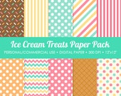 Ice Cream Treats Digital Printable Paper Pack - For Commercial or Personal Use