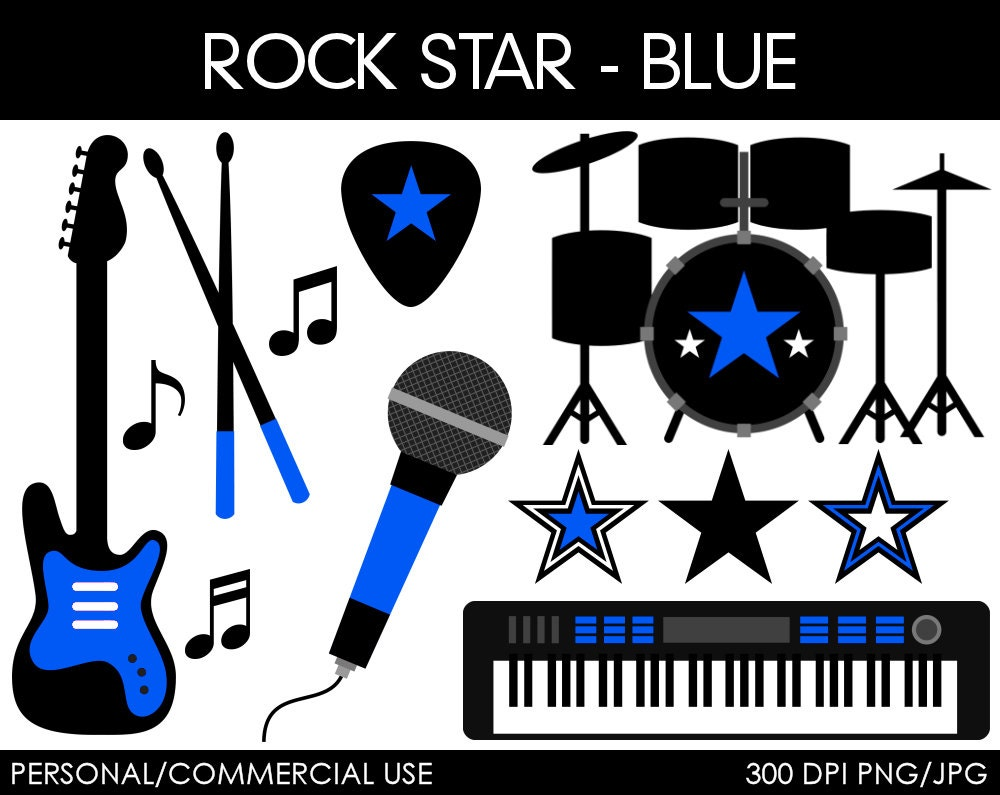 Drum Set Clip Art Rock star clipart digital clip art graphics for by ...
