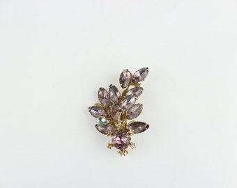 Beautiful Vintage Pink Flower Rhinestone Brooch sale