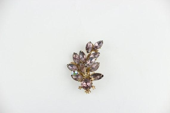 Beautiful Vintage Pink Flower Rhinestone Brooch sale