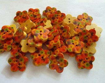 30 pcs Cute blossom flower  wood button 2 hole size 17mm