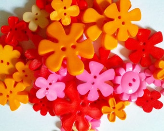 30 pcs Cute flower blossom button 2 hole mix size Pink red orange cream