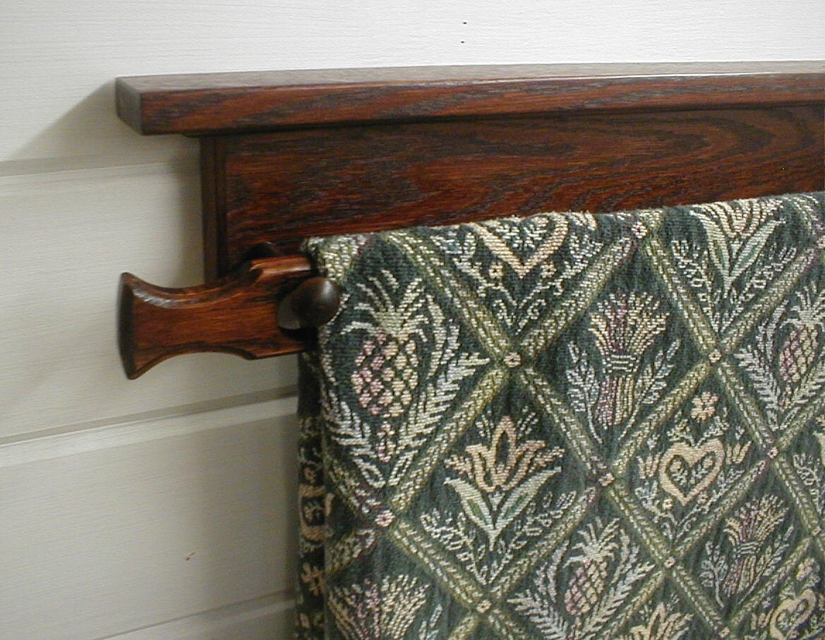 36 In Oak Quilt Rack Wall Mounted Dark Wine Cherry