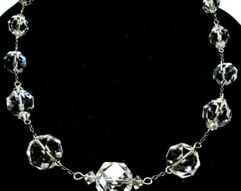 Rock Crystal Bead Necklace Vintage 1920s Genuine Rock Crystal Necklace with Sterling